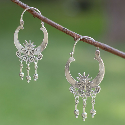 Hand Crafted Taxco Sterling Silver Hoop Earrings 'Days of Sun'