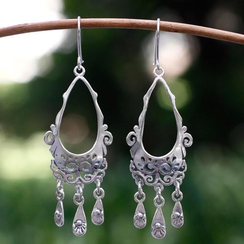 Taxco Silver Sterling Silver Chandelier Earrings 'Taxco Treasure'