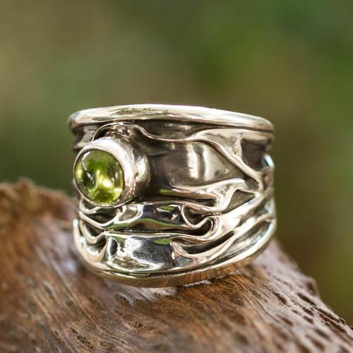 Unique Modern Fine Silver Peridot Ring 'Taxco Dawn'