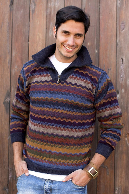 Men's 100% Alpaca Wool Striped Zip Collar Pullover Sweater 'Mountain Life'