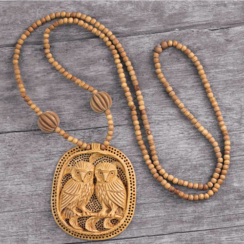 India Wood Jewelry Hand Crafted Necklace 'Owl Romance'