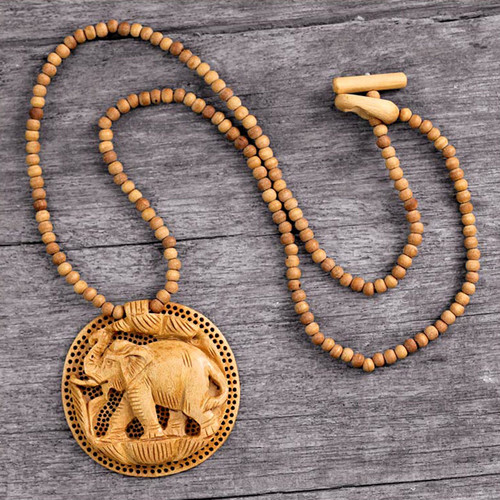 Hand Crafted  Wood Necklace Indian Jewelry 'Elephant Fortune'