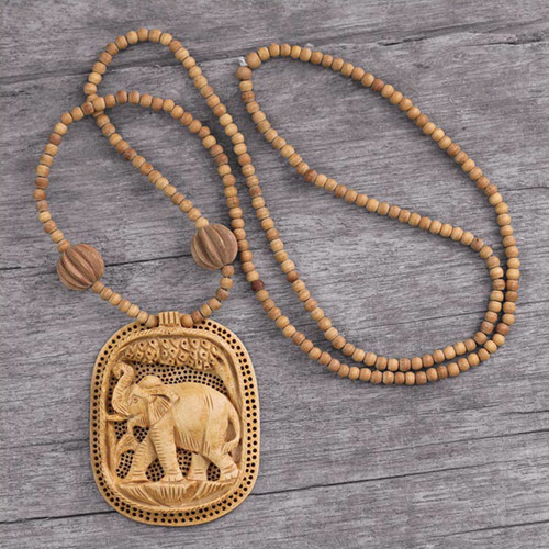 Fair Trade Jewelry Wood Necklace from India 'Elephant Realm'