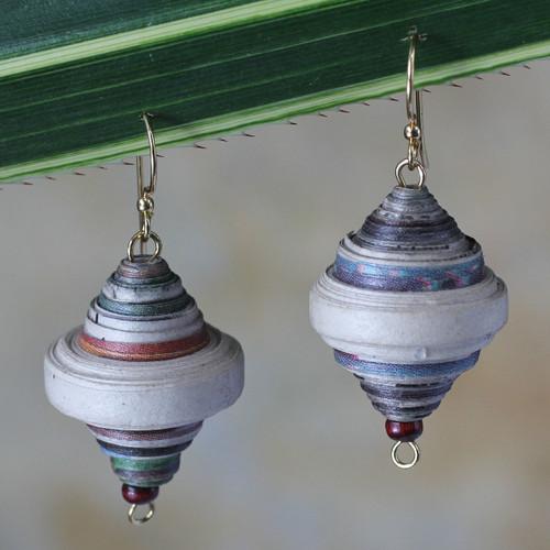 African Recycled Paper Dangle Earrings 'Berries'