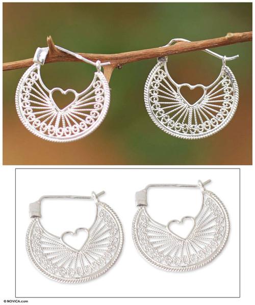 Handcrafted Heart Shaped Sterling Silver Hoop Earrings 'Loving Energy'