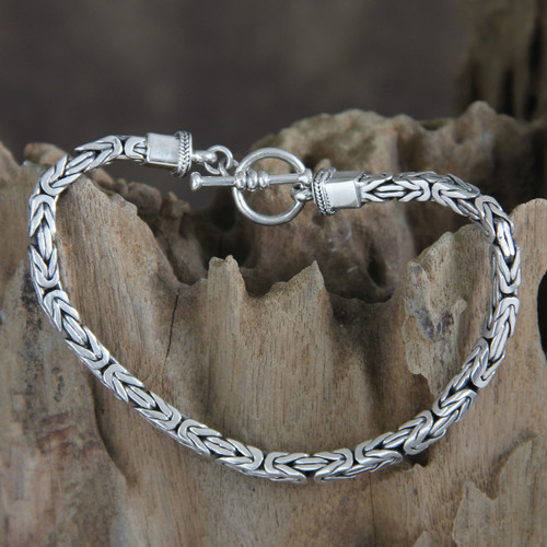 Men's Sterling Silver Chain Bracelet from Indonesia 'Souls Entwine'