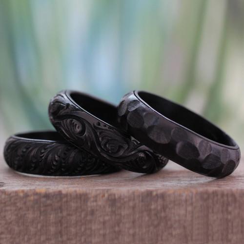 Hand Made Mango Wood Bangle Bracelets (Set of 3) 'Glorious Goa'