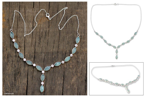 Artisan Crafted Silver and Chalcedony Y Necklace 'Elusive Dream'