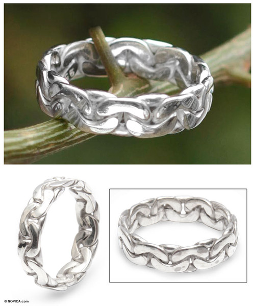 Men's Fair Trade Sterling Silver Band Ring 'Brilliant'