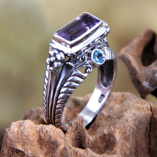 Amethyst and Sterling Silver Cocktail Ring 'Sea Temple'