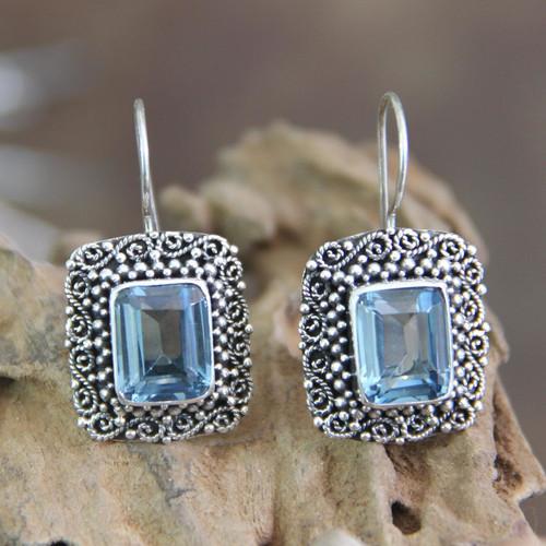 Unique Indonesian Blue Topaz and Silver Earrings 'Java Skies'