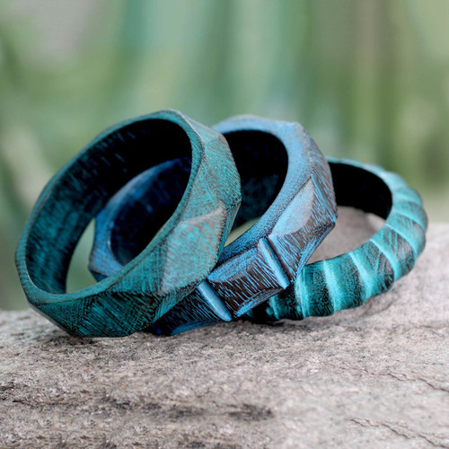 Fair Trade Mango Wood Bangle Bracelets (Set of 3) 'Turquoise Treasure'