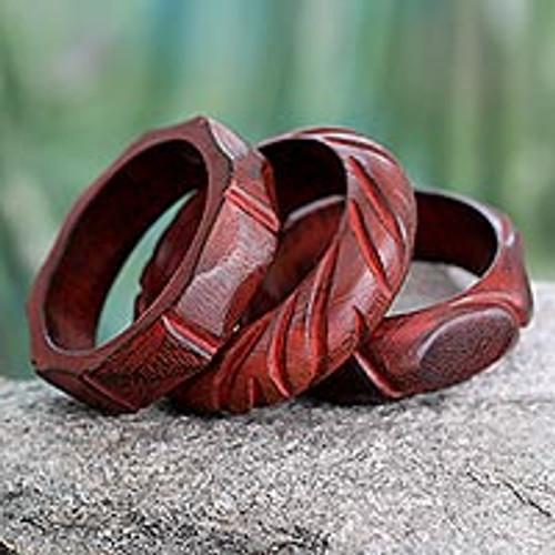 Hand Carved Mango Wood Bangle Bracelets India (Set of 3)  'Indian Romance'