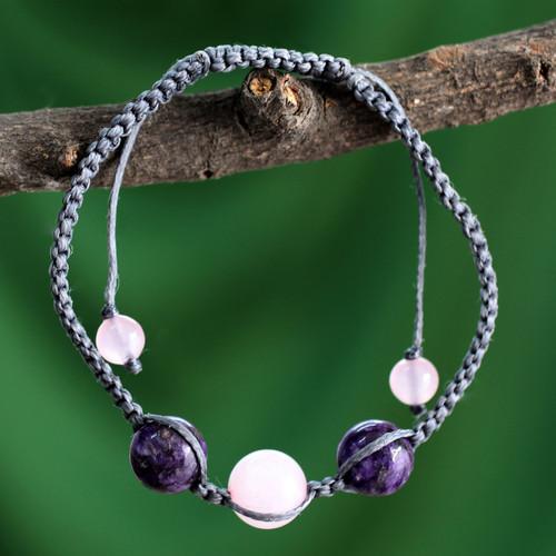 Indian Cotton Cord Charoite and Rose Quartz Bracelet 'Serene Joy'
