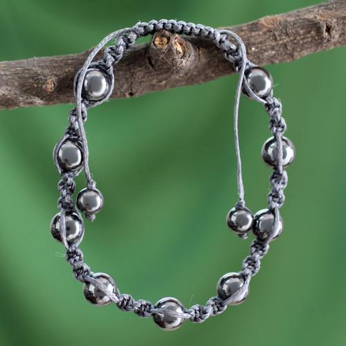 Hand Crafted Cotton Beaded Hematite Shambhala-style Bracelet 'Quiet Peace'