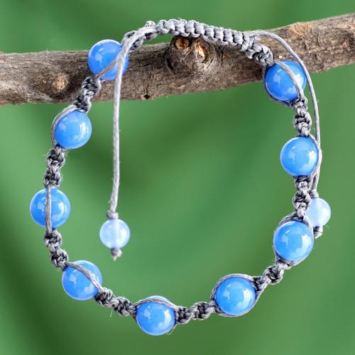 Handcrafted Cotton Beaded Chalcedony Bracelet 'In Harmony'