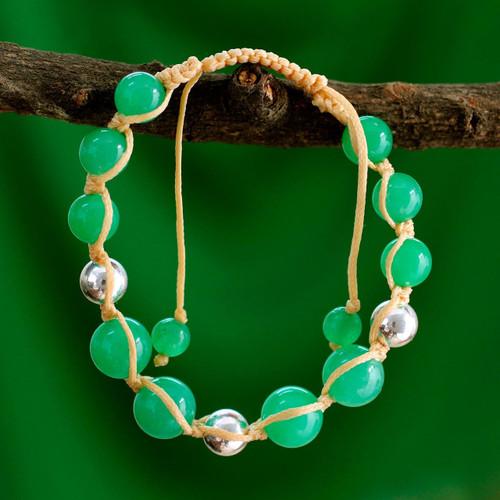 Handmade Jade Shambhala-style Bracelet 'Toward Joy'