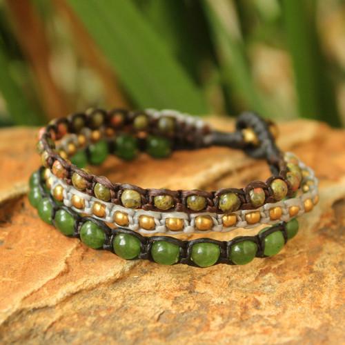Fair Trade Unakite Beaded Bracelet 'Urban Colors'