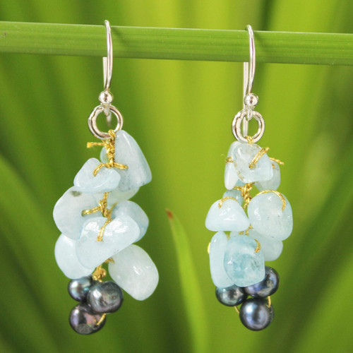 Unique Aquamarine Dangle Earrings 'Afternoon Sigh'