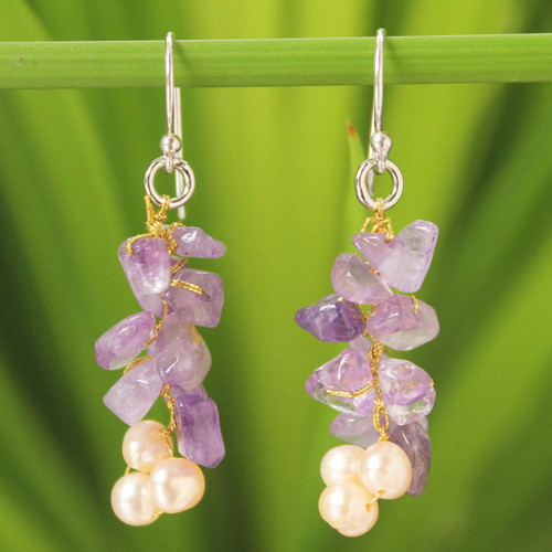 Unique Beaded Amethyst Earrings 'Afternoon Lilac'