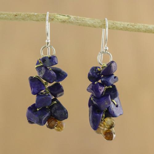 Artisan Jewelry Lapis Lazuli Dangle Earrings 'Afternoon Blue'