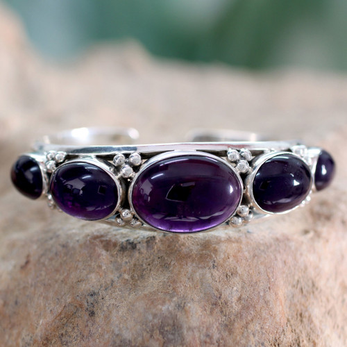 Amethyst on Sterling Silver Cuff Bracelet Indian Jewelry 'Mystic Violet'