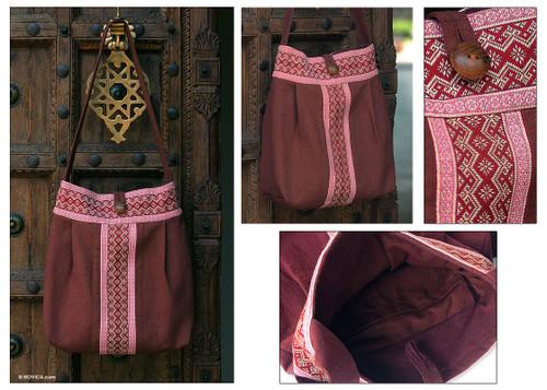 Floral Embroidered Cotton Shoulder Bag  'Lanna Bouquet'