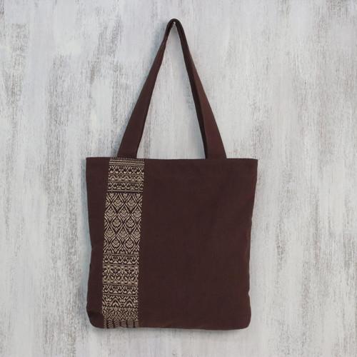Handcrafted Cotton Embroidered Shoulder Bag 'Golden Lanna Lotus'