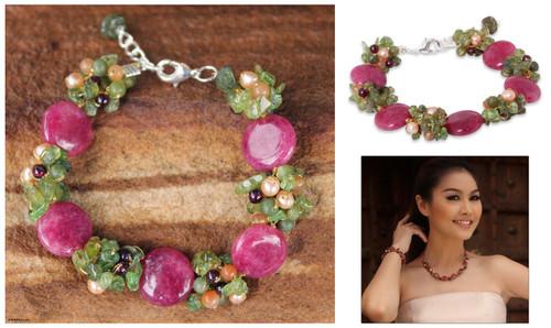 Beaded Quartz Multigem Bracelet 'Peony Romance'