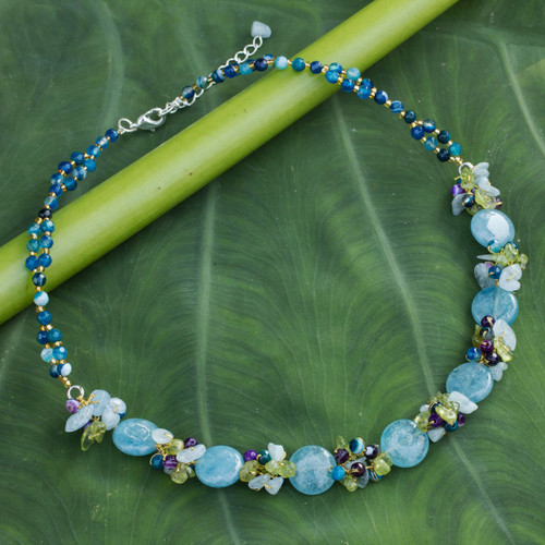 Artisan Crafted Beaded Aquamarine and Agate Necklace 'Light Blue Peonies'