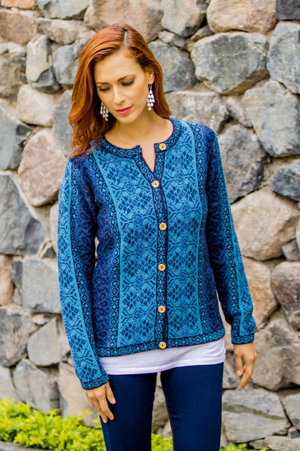 Handcrafted Floral Alpaca Wool Art Knit Cardigan 'Blue Andean Poinsettia'