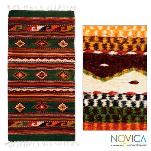 Handwoven Zapotec Artisan Rug 'Oaxaca Forest'