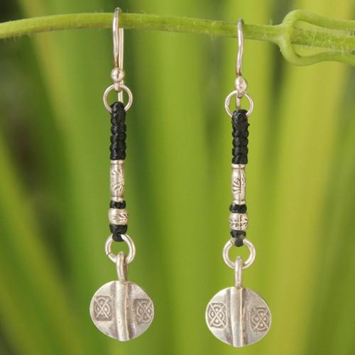 Unique Hill Tribe Silver Dangle Earrings 'Tribal Art'