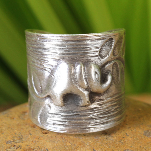 Fair Trade Elephant Theme Sterling Silver Wrap Ring 'Thai Forest Elephant'