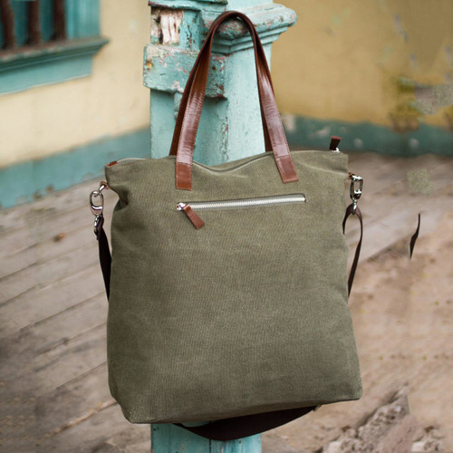 Handcrafted Leather Accent Cotton Tote Handbag 'Journey of Green'