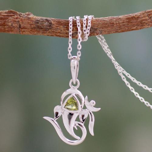 Women's Sterling Silver and Peridot Yoga Jewelry 'Mystical Ganesha'