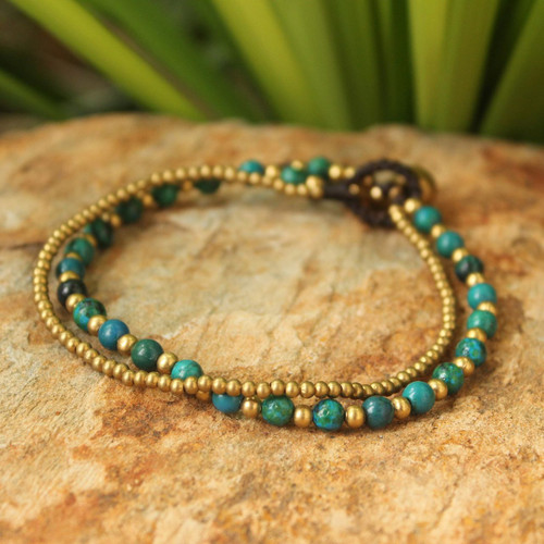 Serpentine and Brass Beaded Bracelet 'Dazzling Green Harmony'