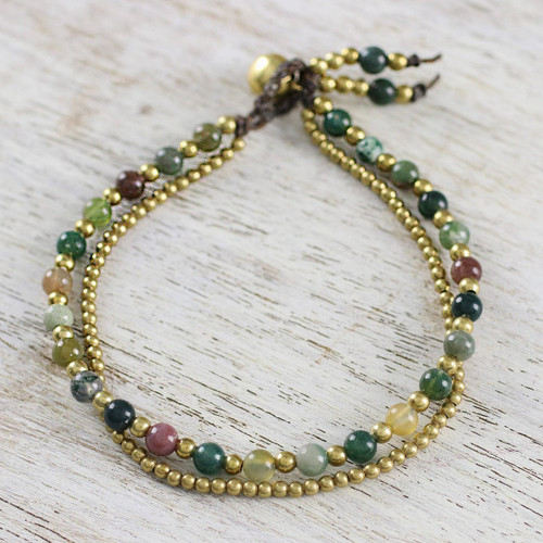 Unique Thai Brass Beaded Jasper Bracelet 'Harvest Harmony'