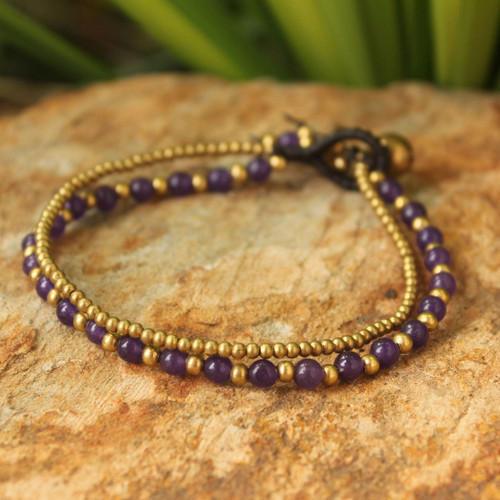 Amethyst and Brass Beaded Bracelet 'Dazzling Harmony'