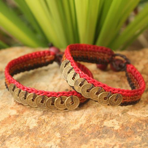 Good Fortune Brass Wristband Bracelets (Pair) 'Cinnamon Coins'