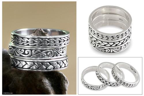 Men's Sterling Silver Stacking Rings (Set of 3) 'Three Principles'