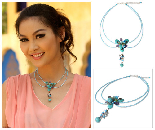 Hand Made Beaded Turquoise Colored Necklace 'Sweet Serenade'