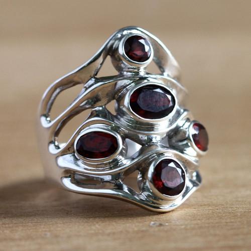 Sterling Silver and Garnet Ring 'Scarlet Gaze'
