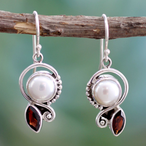 Pearl Garnet Earrings in Sterling Silver Jewelry 'Sublime Romance'