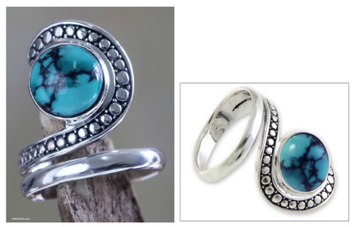 Sterling Silver and Reconstituted Turquoise Ring 'Sanur Swirl'