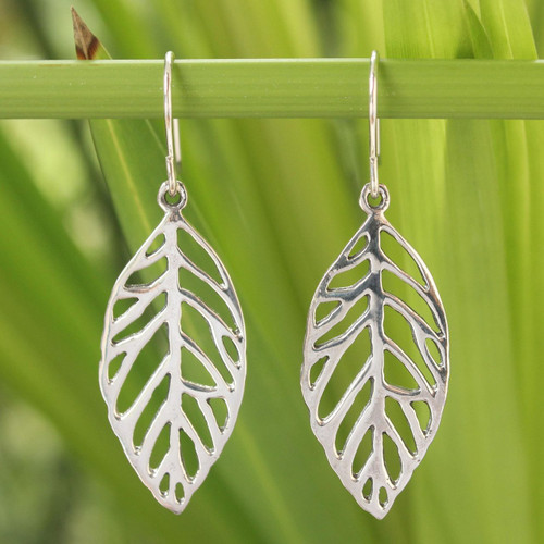 Unique Sterling Silver Dangle Earrings 'New Leaf'