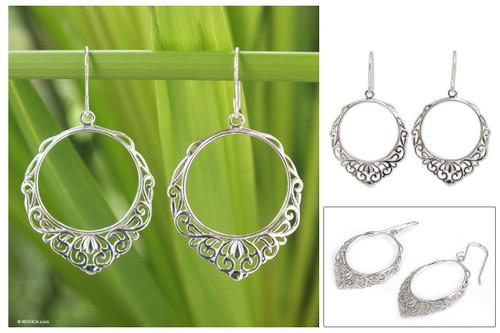 Handmade Sterling Silver Dangle Earrings 'Songkran Moon'