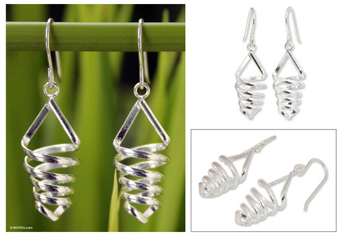 Handcrafted Modern Sterling Silver Dangle Earrings 'Love Tornado'
