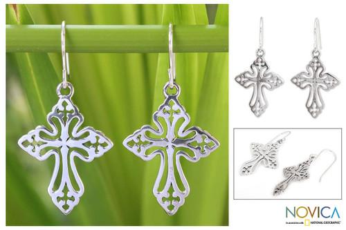 Sterling Silver Dangle Earrings 'Holy Cross'