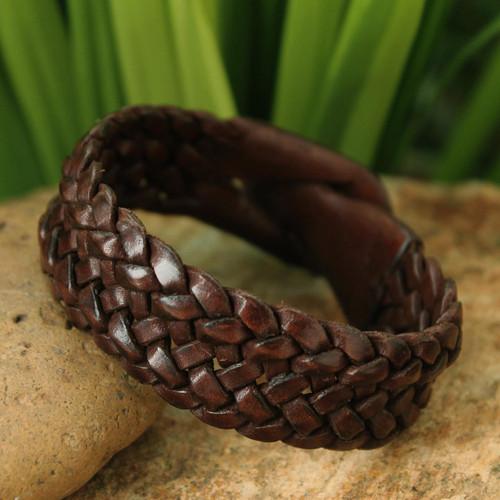 Handmade Unisex Leather Wristband Bracelet 'Bangkok Weave'